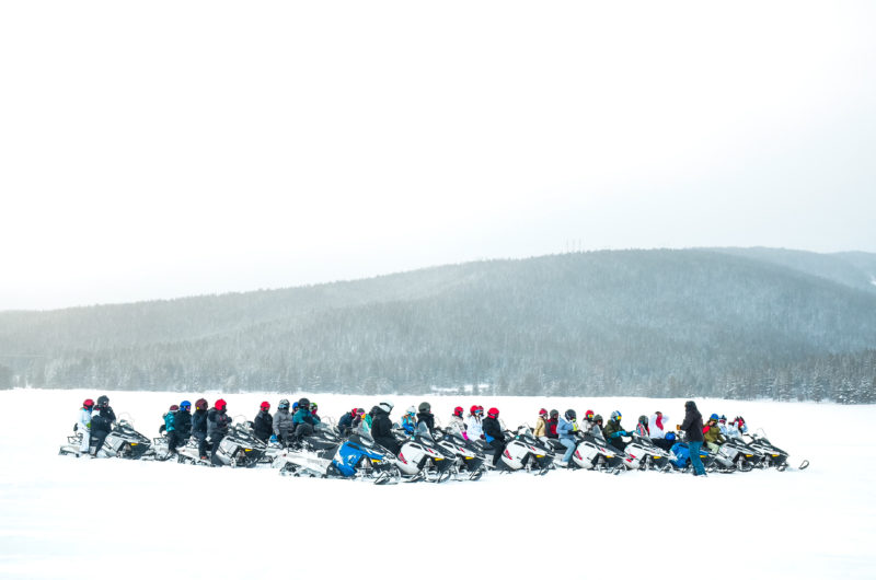 Snowmobiling at White Mountain Tours in Leadville, CO.